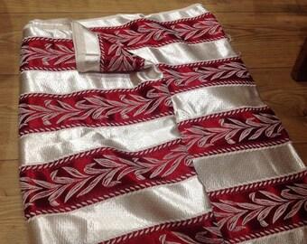 Original 1950s Fabric Curtain High Sheen Liquid Silk Effect Regency Stripe