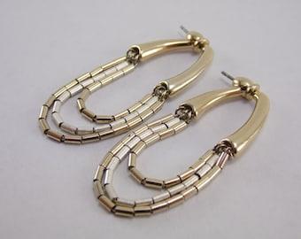 Elegant Vintage Goldtone Sliding Post Dangle Drop Beaded Earrings