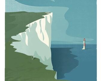 Beachy Head and lighthouse retro print