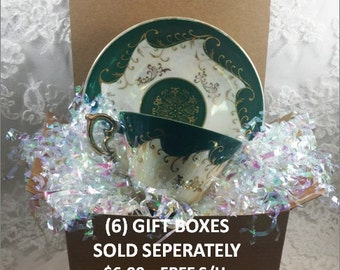 Six Gift Boxes for Tea Cup and Saucer Sets for Wedding - Bridal Shower - Hostess Gift - House Warming - Best Friend
