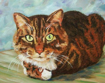 Tabby Cat - Original Acrylic - Painting Not A Print