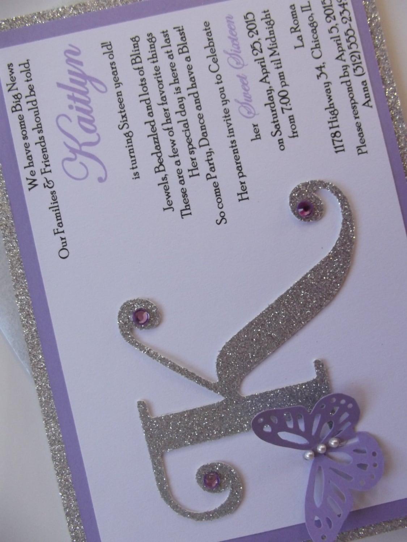 Silver Purple Butterfly Sweet Sixteen 16 15 Invitation Kaitlyn