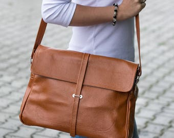 Leather Messenger Bag, Leather Briefcase Bag, Laptop Leather Bag, Shoulder Bag, Crossbody Leather Bag, Leather Satchel, Tan Leather Bag