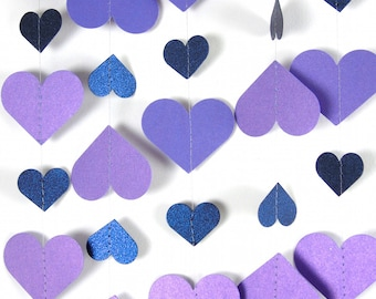 Violet and Midnight Blue Hearts Paper Garland,  20 Colors to Choose