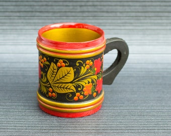 Vintage USSR Wooden Cup Mug Khokhloma Colorful Hand Painted Wooden Russian folk art Soviet home decor Hand curved and painted spoons ohtteam