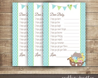 Baby Wish Fill-in-the-Blank Card / Baby Boy Shower / Dear Baby Cards / Noah's Ark Turquoise & Green  - INSTANT DOWNLOAD - Printable
