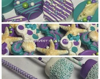 Little Mermaid Birthday Assortment - Chocolate Oreos, Number Lolly's & Marshmallow Pops