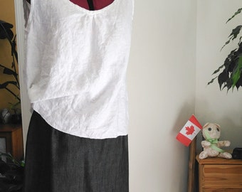 Linen camisole.  Linen tank top.  White Cami. Made to order.