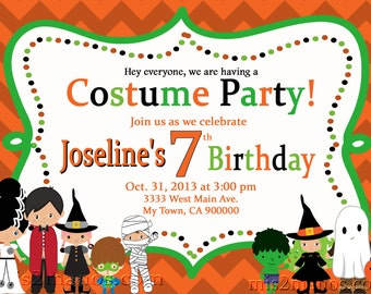 Halloween Costume Party Custom Birthday Printable Invitation for Kids, Boys or Girls Party