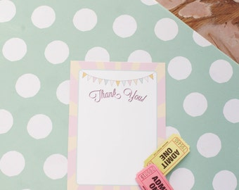 Pink Circus Carnival Thank you Card- Printable, Instant Download