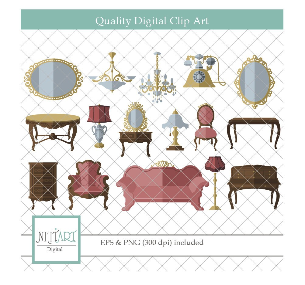 Furniture clipart , Living room clipart, vector graphics, vintage ...