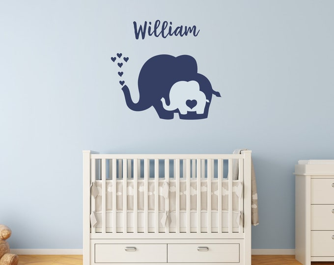 Nursery Elephant Decals with Heart / Elephant Wall Decal / Elephant Name Wall Decal / Baby Elephant with Heart / Nursery Elephant Wall Decal