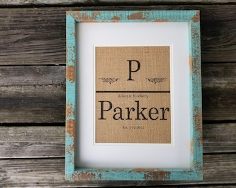 Last name, burlap print, family name, wedding gift, bridal shower gift, home decor, rustic decor, housewarming gift, realtor gift, mom gift