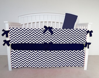 FREE SHIPPING - 4 Piece Crib Set - Chevron crib set, navy chevron, chevron crib bedding, navy zig zag, blue, dark blue