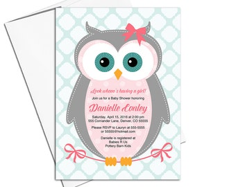 Owl baby shower invitations girl | pink, gray, mint | girl baby shower invites | Evites, printable or printed - WLP00784