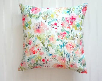 Abstract Floral Watercolor Floral Pillow Cover, Designer Fabric, 18x18, 20x20, 22x22, 24x24, 14x20, 12x21