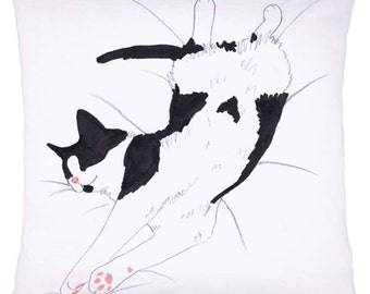 Cat Cushion Pillow Black & White Tuxedo 'Cat Nap' Sleeping Cat Allergy Free