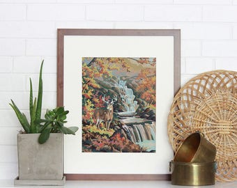 Vintage Paint by Number, Fall Buck, Waterfall, Fall Leaves, Autumn, Print Your Own, Instant Art, Digital Download, Print up to 16x20