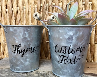 Custom Planter | Customized Text Plant Tin | Succulent Planter | Herb Planter | Succulent Plant Pot | Custom Flower Pot | Galvanized Tin
