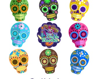 Sugar Skull, Oreo Cover, Lollipops, Cupcake Toppers, Meringues, Chocolates Edible Transfer Sheets, Die De Moertos, Day of Dead Party Favors