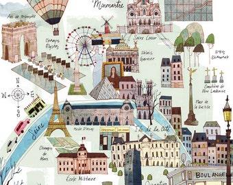 8 x 10 Paris Map