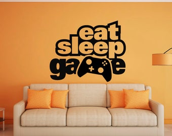 Gamer, eat sleep game, video game, controller, Large wall mural art, childrens room, decal, sticker