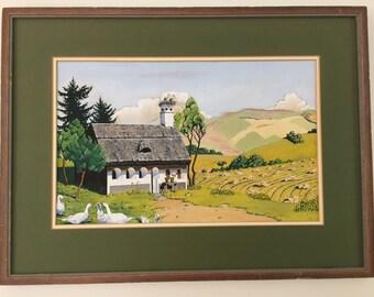 Vintage Original Framed Swiss Gouache Landscape Painting