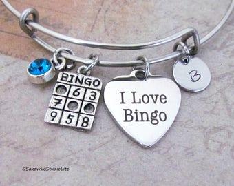 I Love Bingo  Charm Personalized Hand Stamped Initial Birthstone Stainless Steel Antique Silver Bingo Heart Bangle Bracelet