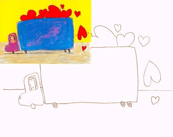 Truck of love, Watercolor painting kit