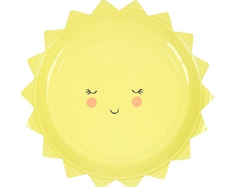Sun Shaped Plates. Set of 12. You Are My Sunshine. First Birthday. Baby Shower Decor. Sunshine Clouds Party Decor. Oh Baby. Gender Neutral.