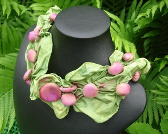 Strawberry Fields Silk Shibori Bubble Necklace Scarf with Clasp NS14-20