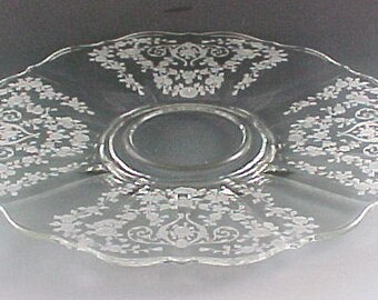Cambridge Glass Diane Etched 2 Handled Under Plate Crystal Elegant 1940s Authentic Cheese and Cracker Plate Only