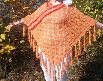 LIQUIDATION Stock SALE 30% OFF / Oversized Feminine Poncho Wedding Accessories Romantic Hand Knitted Crochet Capelet Women Orange Maternity