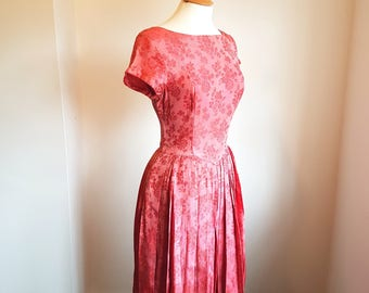Vintage 50s Pink Brocade Dress SMALL  UK 8-10  US 4-6