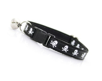 """Halloween Cat Collar - """"Lil Misfit"""" - Skulls on Black - Breakaway Buckle or Non-Breakaway - Sizes for Cats + Small Dogs"""