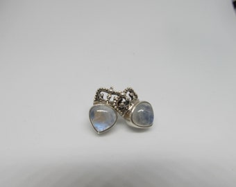 925 Moonstone Crown Earrings W #809