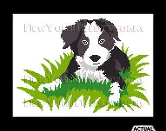 Border Collie Cross Stitch, Dog Cross Stitch, Dog Silhouette, Puppy Silhouette, Puppy Cross Stitch, Border Collie, Cross Stitch, Animals