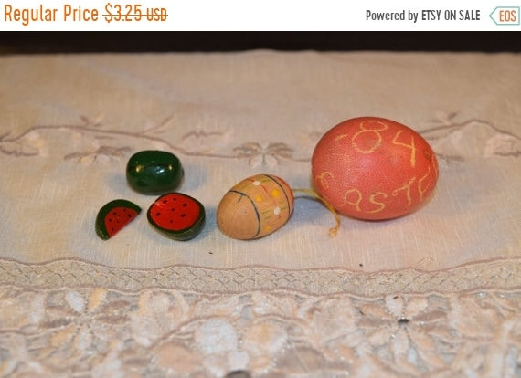 Delayed Shipping Miniature Spring Easter Egg Ornament Vintage Spring Wooden Miniatures Watermelon Easter Eggs Wooden Easter Tree Ornament Ea