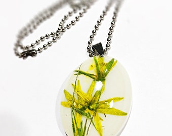 Botanical extravagant real flower pendant on a stainless steel ball chain, Jewelry that isn't missed, gift for her, flower lover gift