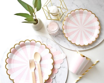 Pink stripes party tableware set for 8 guests | paper plates, cups, napkins and straws | tableware for wedding, baby showers or birthday