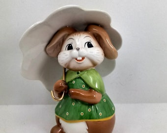 Goebel Porcelain rabbit with flower umbrella cm 12 5 x 10 L
