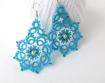 Blue Lace Tatted Earrings  Turquoise Summer Earrings Beaded Flower Handmade Earrings  Womens Gift  Lace Jewelry
