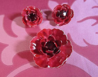 VTG 1960's Weiss Jewelry Set Cabbage Rose Clip on Earrings and Brooch