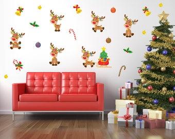 Christmas Party Decorations, Christmas Wall Decals, Christmas Decorations, Reindeer Decorations, Christmas Stickers, Holiday Party Decor