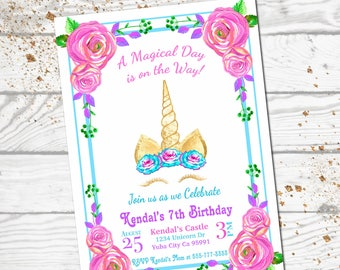 Unicorn Birthday Invitation / Unicorn Party