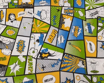 Fabric cotton green yellow blue black white cartoon Comics Superhero Cotton Fabric Kids Fabric Scandinavian Design Scandinavian Textile