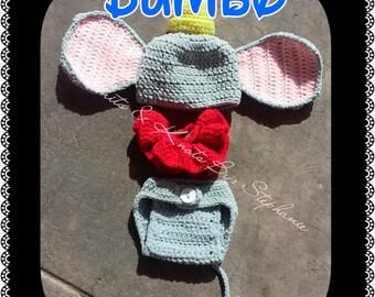 Crochet Dumbo, baby prop, crochet baby set, baby(made to order)