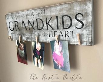 Grandparents Sign, Grandkid Picture Holder, Grandparents Wood Sign, Grandparent Gift, Grandparent Picture Frame, Grandkids Plaque,