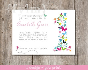 Butterfly Party Printable Invitations - I design - YOU PRINT - Butterfly party