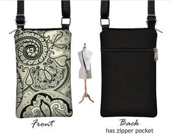 iPhone 6 / Plus  Case Mini Crossbody Bag , Paisley Cell Phone Holder  Small Cross Body Handbag, black white grey fabric RTS